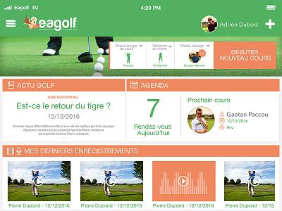 Eagolf App - Dashboard uiux design app golf app