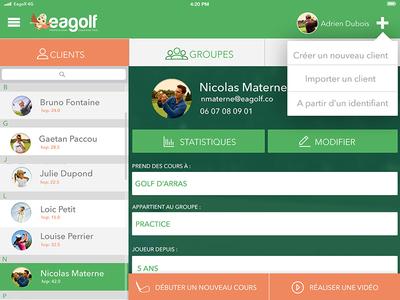 Eagolf App - BDD uiux design app golf app