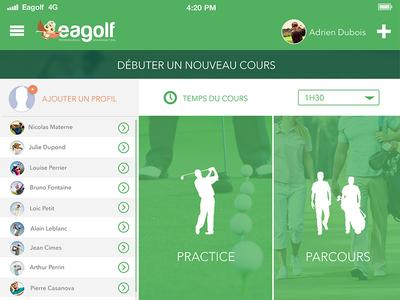 Eagolf App - Choice of training uiux design app golf app