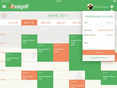 Eagolf App - Diary uiux design app golf app