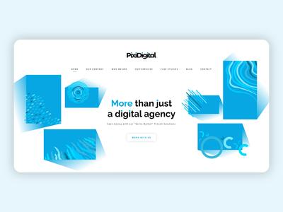 Pixi Digital Header Page abstractdesign patterndesign square gradient landingpage moderndesign digitalagency header webdesign