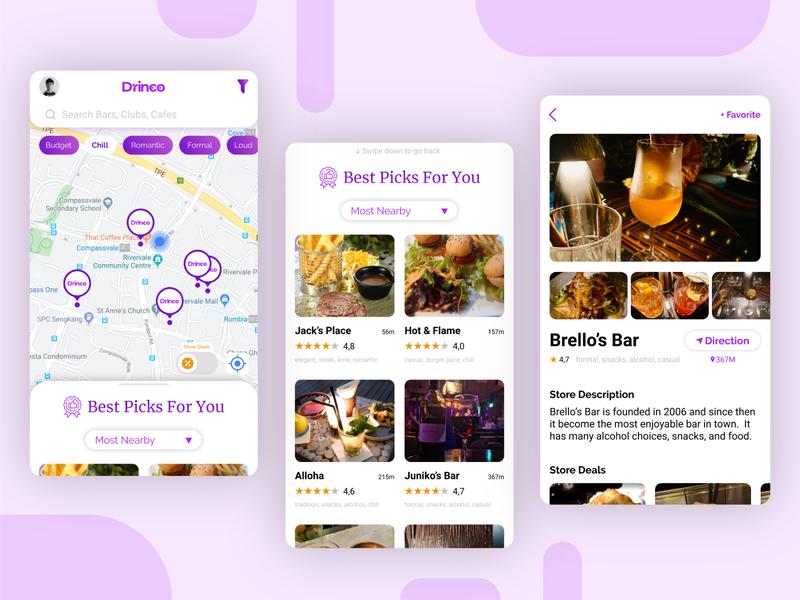 Drinco Drinks Finder App finder app icon design user interface design modern design bar app bar maps app maps drinks app layoutdesign drinks uiux mobileui mobileapp mobiledesign