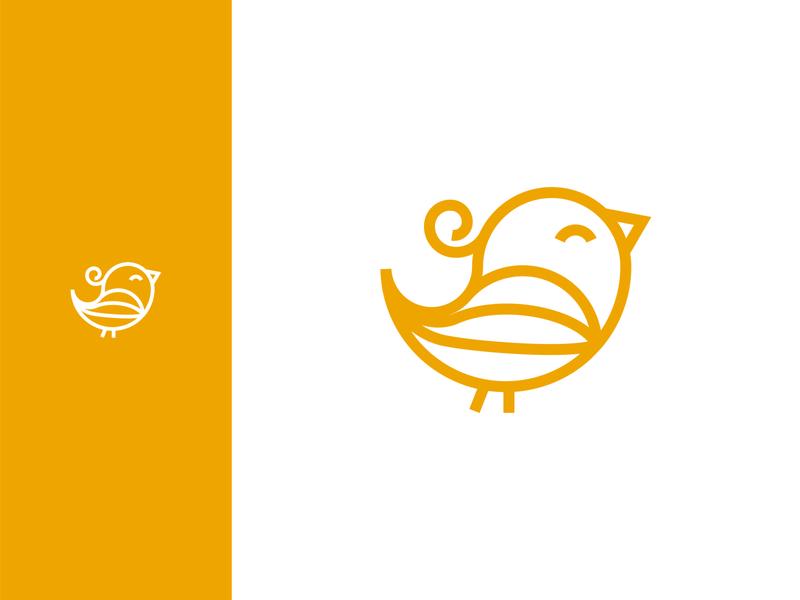 Curvy Bird Logomark happy cute playful logo designer logo design chick logo bird animal logo design simple logo design logomark line logo design bird logo design