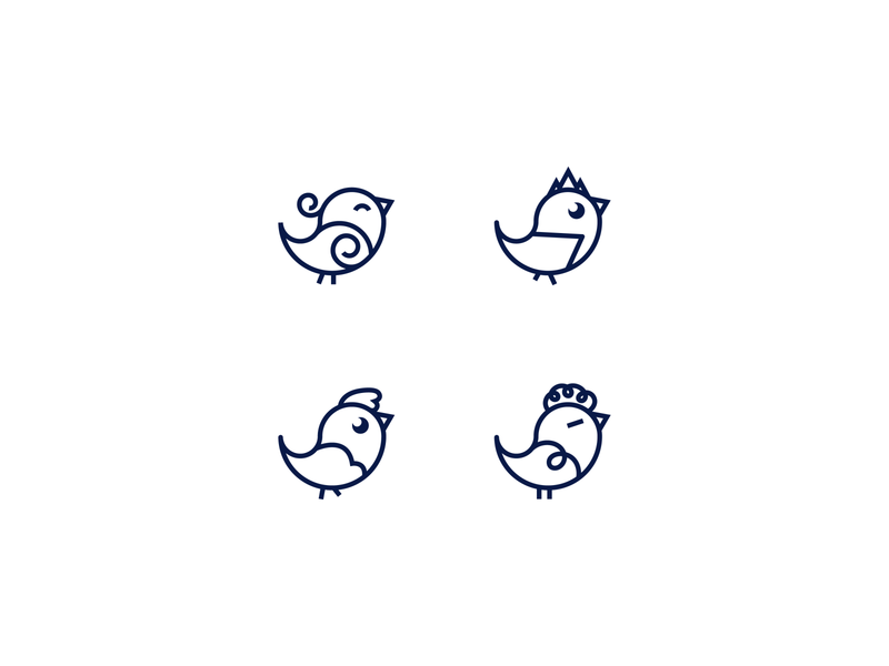 4 Kind of Birds simple line logo logos animal logo chicken logo chicks hairstyles fun personality playful cute bird logo logomark logo designer logo inspiration logo set icon design logo design