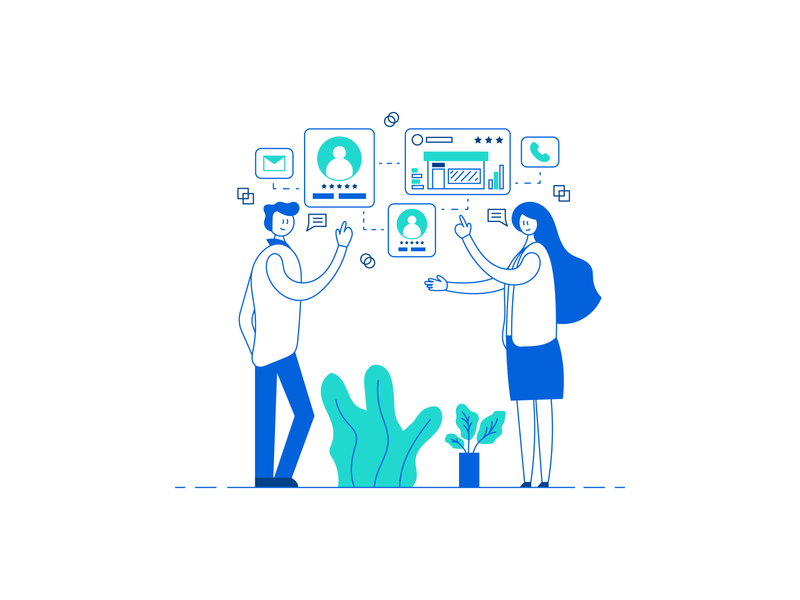 Business Discussion communications icons speech bubbles plants leaves services business man conversation flat illustration line illustration discussion coworkers people human business lineart flatdesign vector illustration