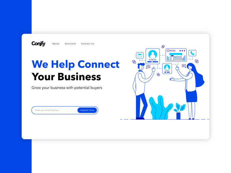 Conify - Business Consulting Website creative connection talking speech bubbles chat discussions conversations people vector art line art line illustration flat design service consulting business header illustration header design web design landing page website