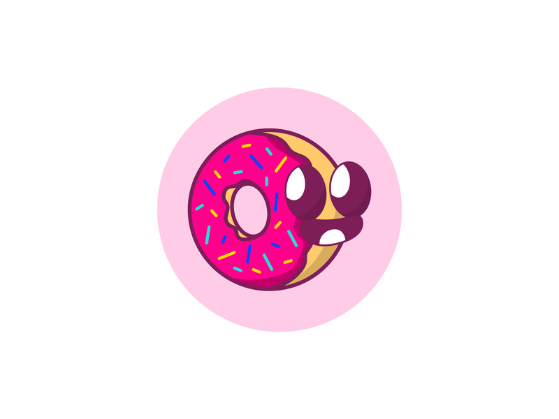 Cute Donut pink sweet sprinkles profile food character design doughnut donut illustration avatars avatar icons avatar design avatar