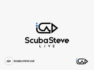 Scuba Steve Live Logo line logo lineart logo design activity sport channel media video live record swimming s alphabet s letter logo wordmark logotype modern water sea snorkeling diving