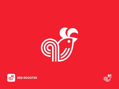 Red Rooster Logo app icon icon design symbol logomark red food eat modern logo design bird logo animal logo creative line art line logo logo design chicken logo