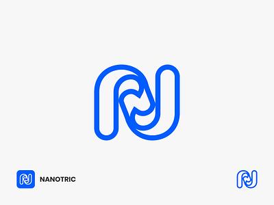 Nanotric Logo thunder n letter line logo line art corporate industry twist swirl tornado efficiency utility electricity logotype logomark n alphabet n letter logo n n logo letter logo lettermark