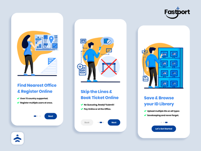 Fastport Welcome Onboarding user interface design screens infographic collection identification ticket border travel airport logo design airplane icon design flatdesign mobile app registration international passport welcome onboarding