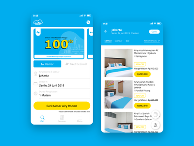 Search Menu Page - Airy Rooms App