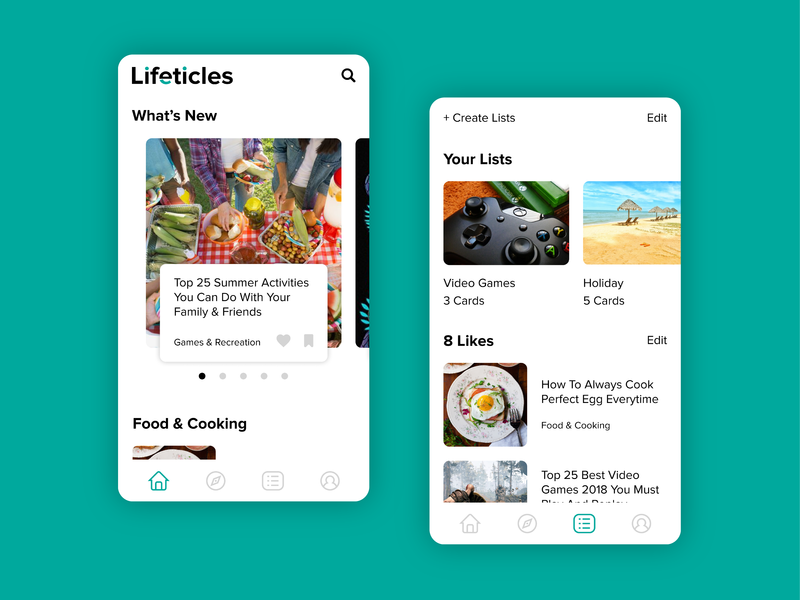 Lifeticles Mobile Design reading app clean design simple design light mode white space application mobile app feed interface post white android wordmark logo listing articles mobile design listicles uiux uidesign mobile