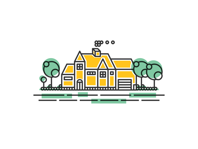 Yellow House line illustration house illustration house lines colors creative vector fun playful linestyle lines environment lineart house illustration