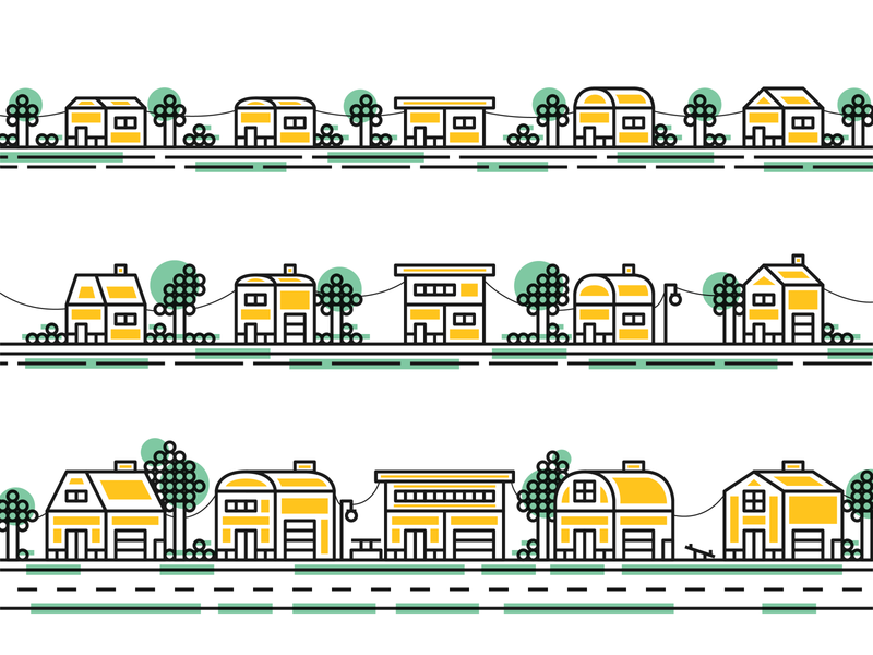 The Yellow Neighborhood house design house logo house icon line icons vector creative fun playful line illustration house illustration lineart neighborhood neighbors yellow house illustration