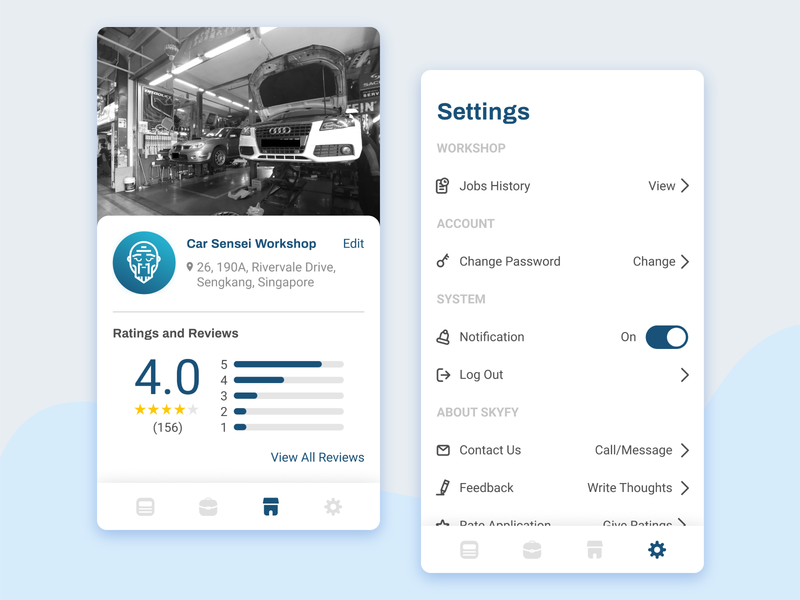 Car Sensei for Workshop 2 moderndesign icons reviews ratings layoutdesign userinterface profile page settings workshop service car appdesign uiux uidesign mobiledesign