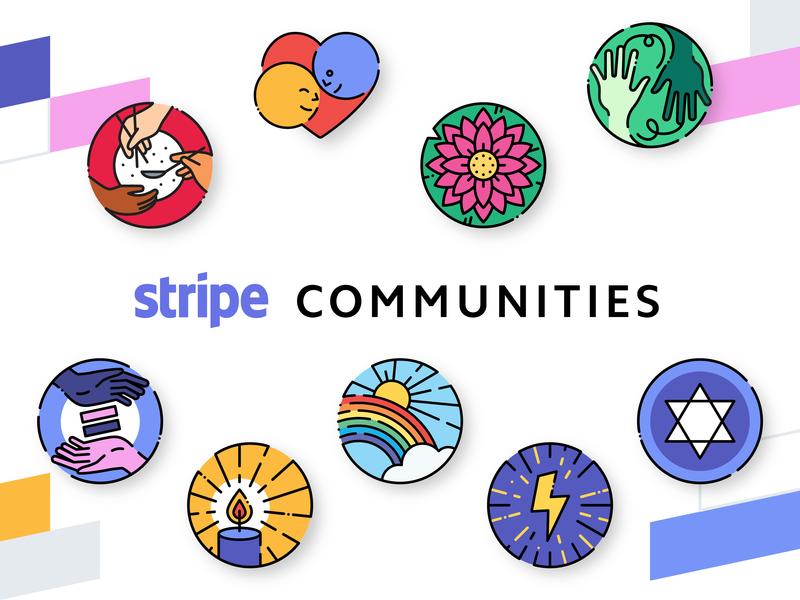 Stripe Communities branding stripe logo vector illustration design