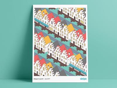Belgium Launch Poster isometric poster vector brand illustration belgium stripe