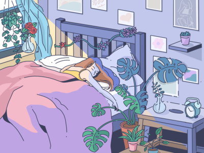 Airtable Inktober #8: EMBED [IN BED] bed scene sketch draw inktober2019 inktober procreate colorway drawing illustrator graphic color design illustration