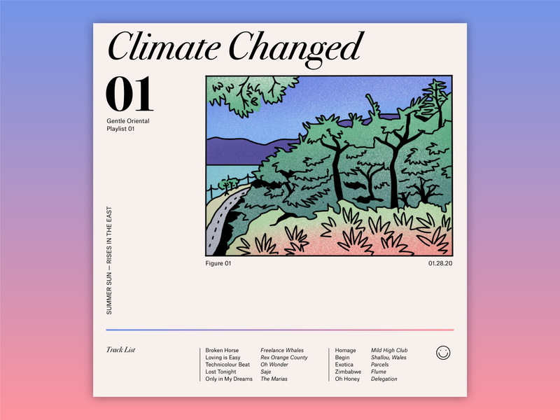 Climate Changed: Playlist 01 typography vector procreate illustrator graphic color design illustration spotify music player gradient climate music playlist