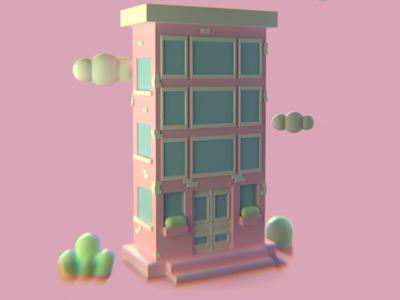 Something like home 3d illustration composition 3d design pink home blender 3d illustration
