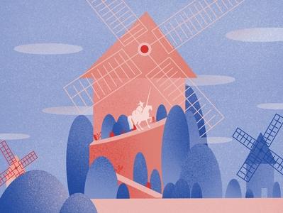 Don Quijote illustrations texture illustration design blue pink procreate illustration digital