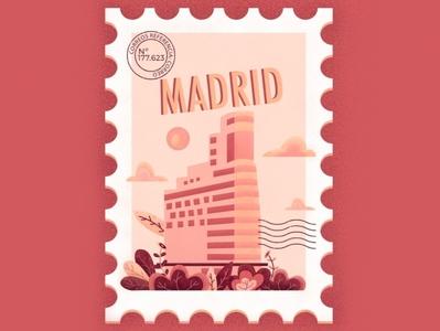 Madrid city nature texture procreate postcard home illustration pink