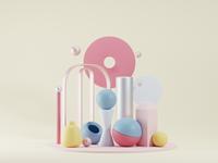 Composition blenderillustration blender3$ pastels illustration shapes 3d pink blender