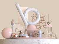 3D shapes render gold color pink textures artwork illustration 3d