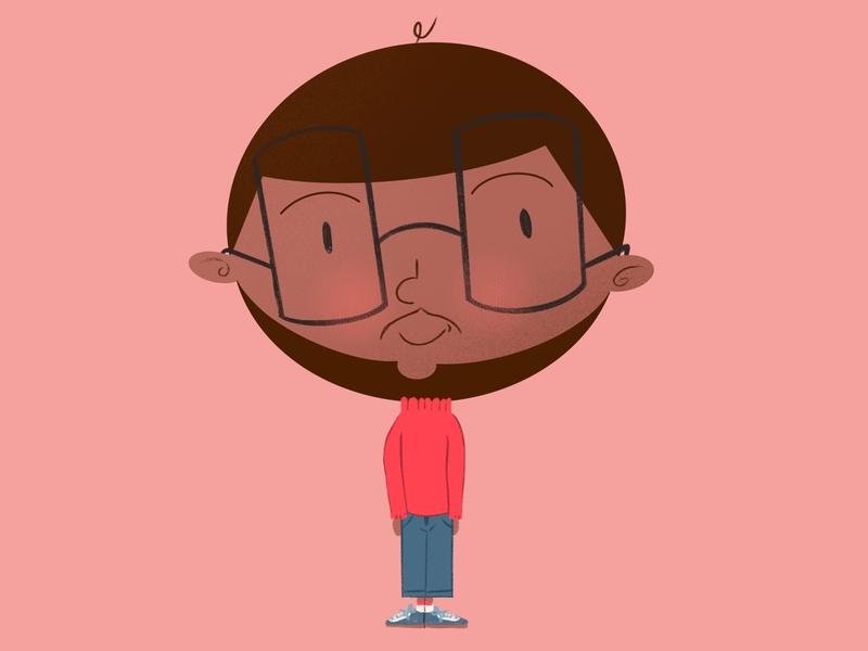 Ray blue style character illustration art pink boy texture design procreate cartoon illustration