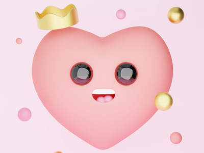 Heart pink 3d art cinema 4d illustration illustration 3d blender