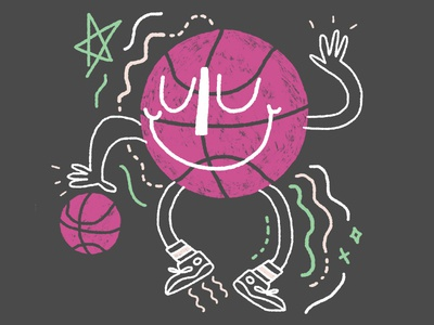 march madness! (hey, dribbble!) kentucky ohio columbus women with pencils pink sports cute doodle illustration first shot basketball march madness