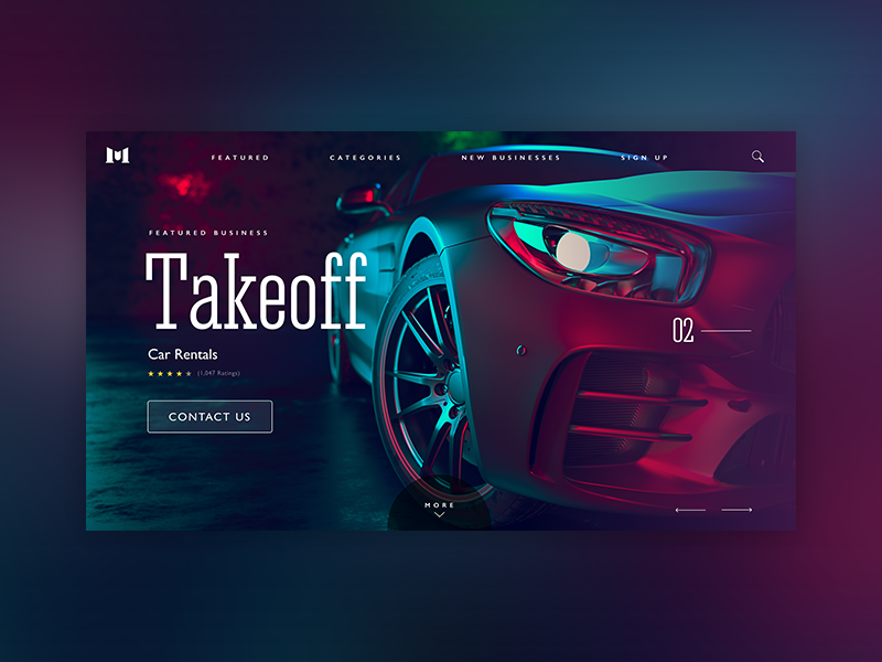 Premium car rental gradients rental cars networking promotion business interaction design ux ui