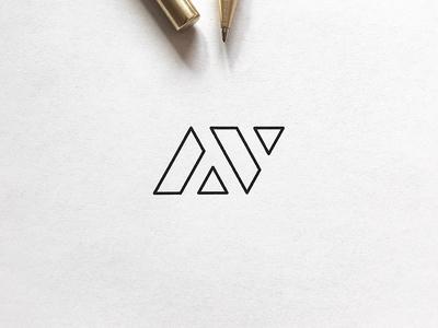 A minimalistic A & V monogram design.