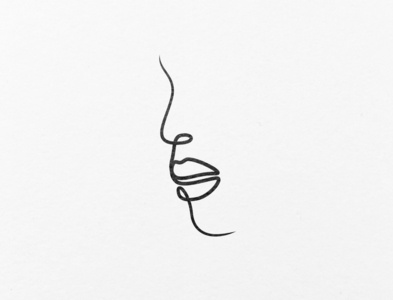 A woman's face out of one line.