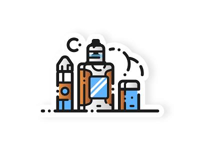 Juice & Mods pod smoant cylon cloud chasing mod liquid vaping vape art design sticker 2d vector minimal illustration material flat adobe illustrator