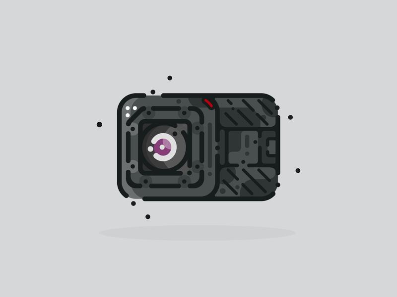 Camera graphic design go pro camera icon camera design sticker minimal material illustration adobe illustrator