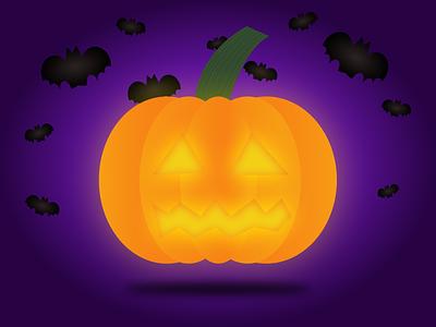 Spook pumpkin bat pumpkin halloween illustration experimental vector dribbbleweeklywarmup