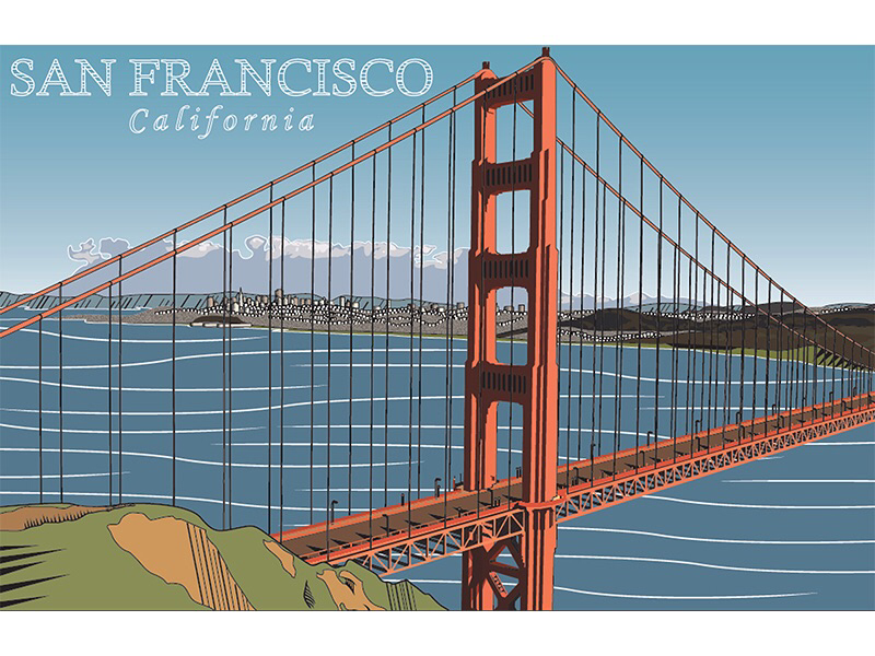 Golden Gate Bridge golden gate bridge california san francisco travel illustration vector illustrator