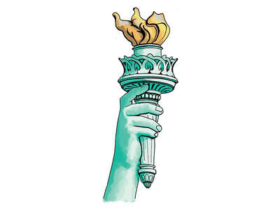 Liberty Torch richmond drawing commentary editorial pen and ink photoshop illustration