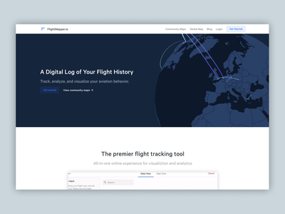 Upcoming FlightMapper 2.0 landing page airplanes georgia geo flights css home homepage marketing landing page map flight maps