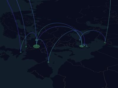 My flights across Europe