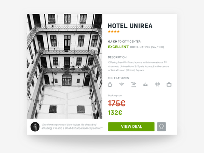 Hotel Product Card hotel trivago booking travel concept web card ux ui