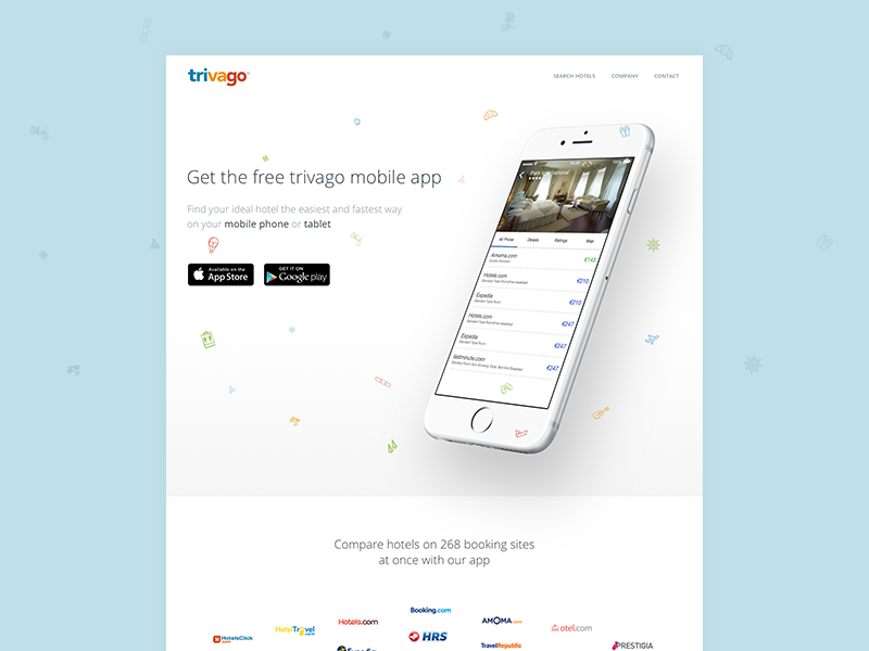 trivago Apps Landing Concept promo landing travel website trivago ios iphone app landing page web ux ui