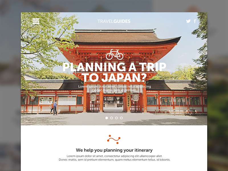 Japan Travel Concept design web flat interface uiux ui ux website travel japan homepage