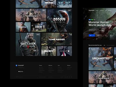 Gameshelf - Home minimal videogame game typography website design ux ui web dark clean