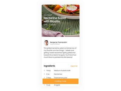 Foody - Cooking Mode cooking recipe animation prototype video minimal app food ux ui design