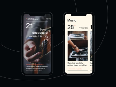 Events Guide - Mobile web typo minimal typography music events clean dark mobile ux ui design