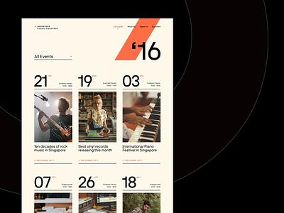 Events Guide - Desktop digital site clean web website typo typography minimal events ux ui design