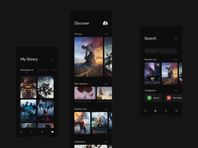 Gameshelf App - Ideas game app typography dark clean minimal web ux ui design